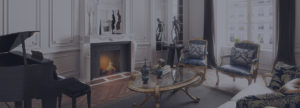 elaborate marble fireplace in the classical interior