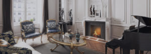 elaborate marble fireplace in the interior