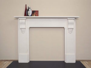 Victorian style lintel fireplace made of limestone