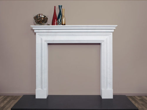 Contemporary style elegant fire surround made of white marble