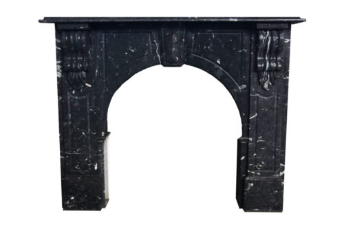 Nero Marquina marble Victorian arched fireplace