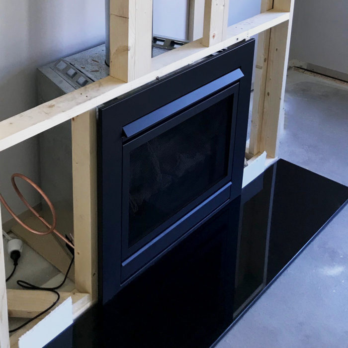 black granite hearth with polished finish