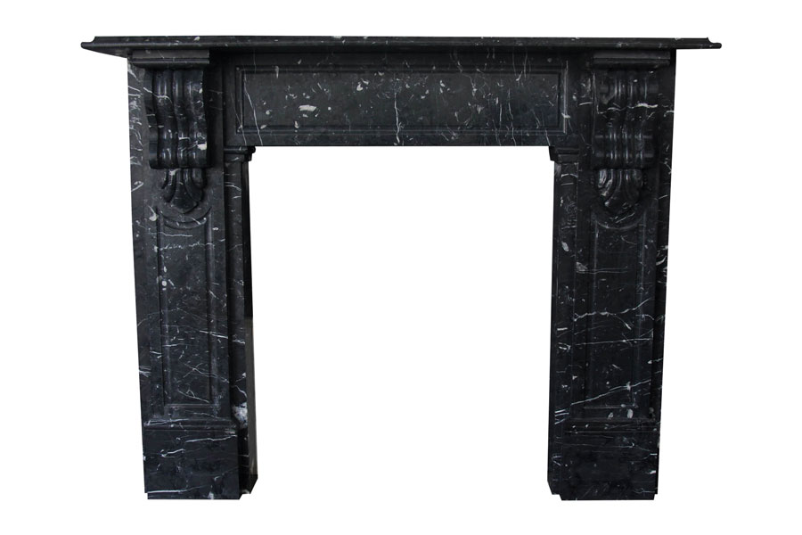 Nero Marquina marble Victorian lintel fireplace