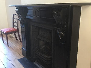 Victorian antique lintel fireplace made of Belgium black marble