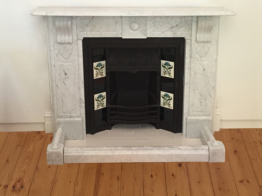 Victorian fully restored antique lintel fireplace with corbels and drops made of Italian White Carrara