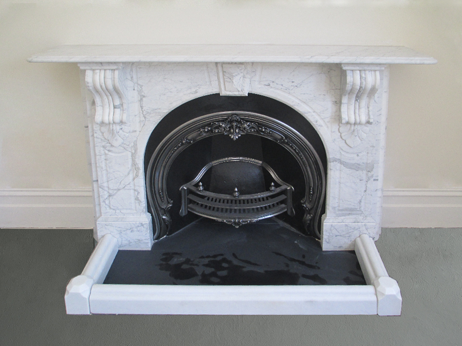 Victorian fully restored antique arched fireplace with corbels and drops made of Italian White Carrara
