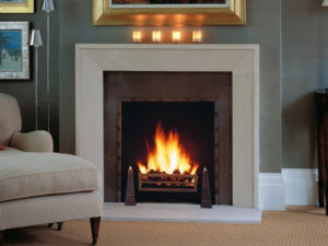 contemporary beige limestone fireplace