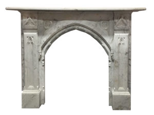 Antique gothic fireplace made of Italian white Carrara