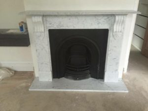 Victorian style lintel custom made marble fireplace with a marble hearth