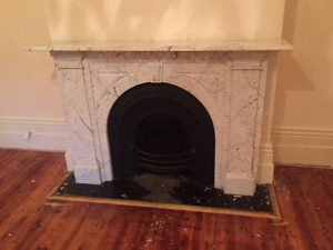Victorian antique arched fireplace made of Italian white Carrara