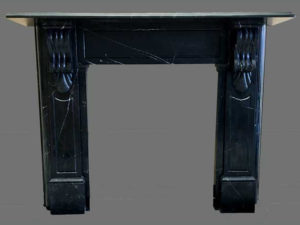 Victorian style lintel fireplace made of Black Maquina marble