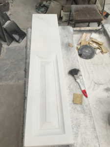hand carved marble fireplace panel