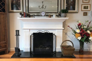 white marble modern fireplace