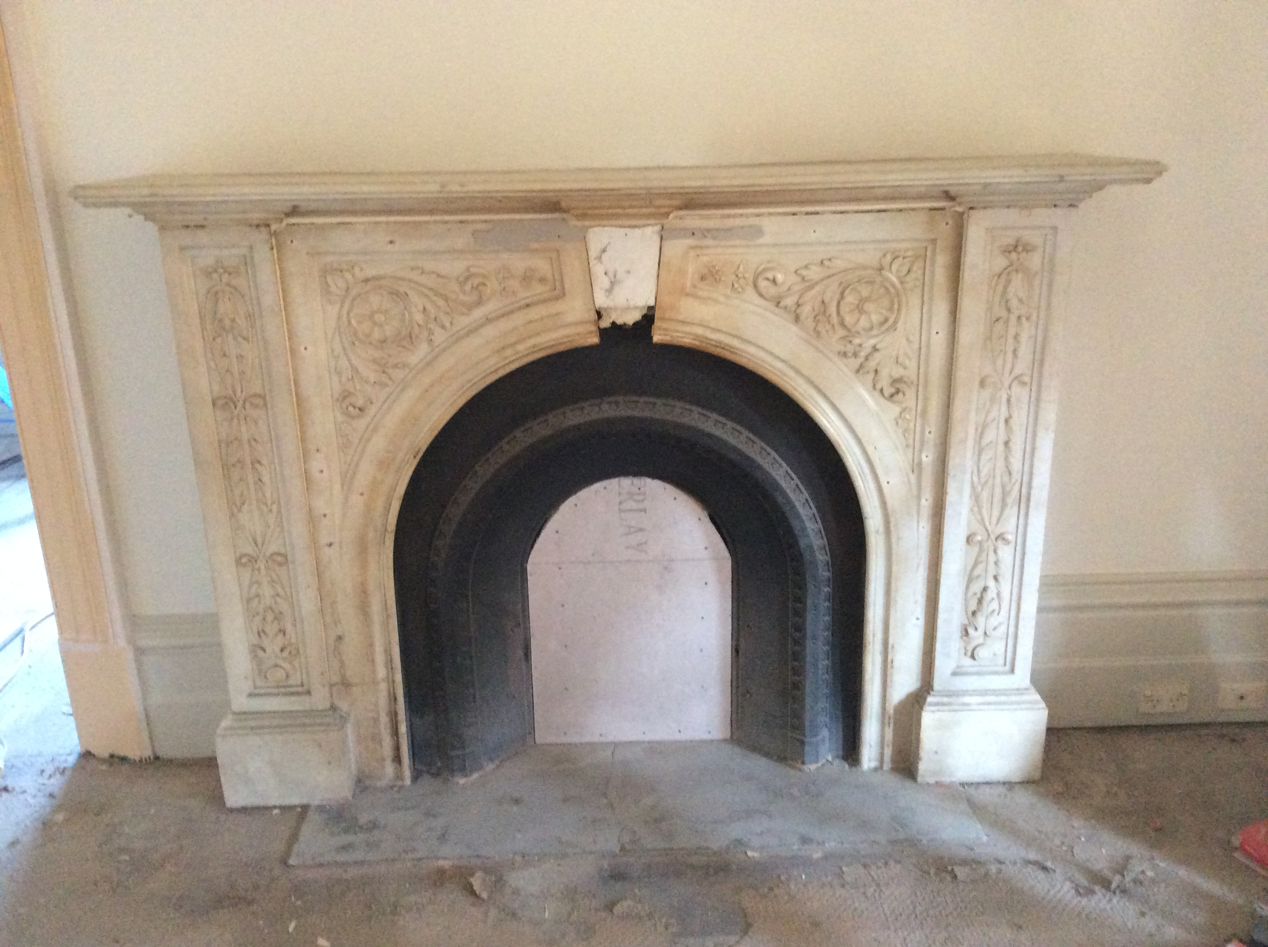 Victorian arched floral fireplace before restoration Victorian fireplace restoration