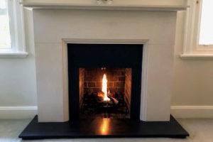 limestone art deco fireplace
