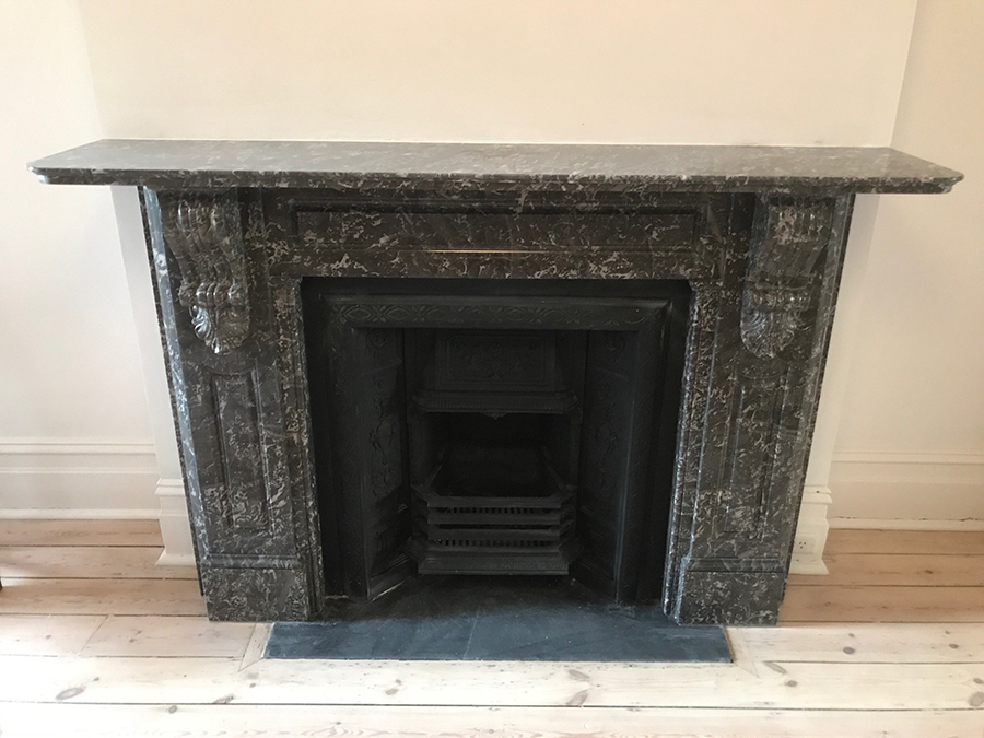 Victorian fully restored antique lintel fireplace with corbels and drops made of St Annes marble