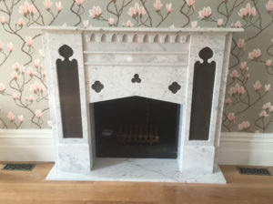 Gothic custom made marble fireplace