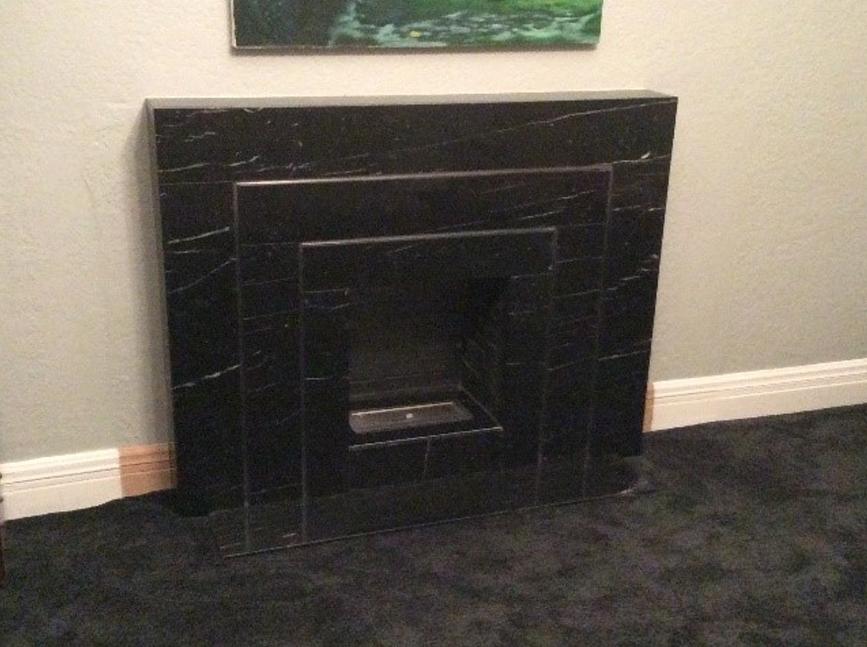 Art Deco custom made Black Marquina marble fireplace