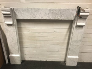 Antique lintel fireplaces with Edwardian corbels made of Italian white Carrara