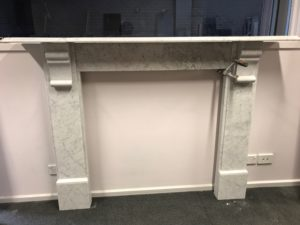 antique lintel fireplace made of White Carrara