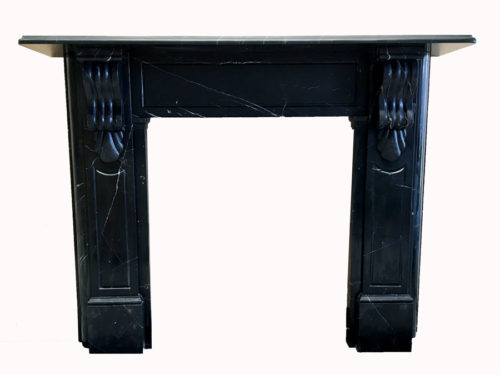 Victorian style lintel fireplace made of Black Marquina marble