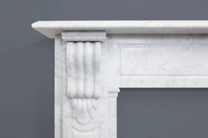 Victorian style lintel fireplace made of Italian white Carrara marble