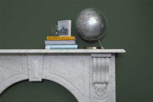 Victorian style arched fireplace made of Italian white Carrara marble