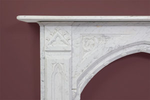 Gothic antique fireplace made of Italian White Carrara