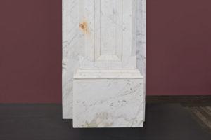 Gothic antique fireplace made of Italian White Carrara